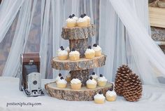Rustic Wood Tree Slice Cake or Cupcake Stand for by postscripts, $39.99
