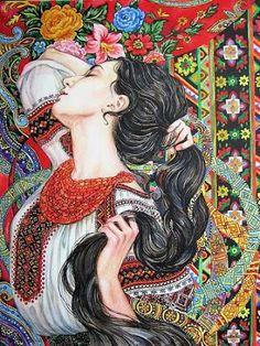 "aph-ukraina: ""Artist is Oksana Rudenko from the city Dnipropetrovsk (Novy Kodak), Ukraine "" Russian Folk, Russian Art, Ukrainian Art, Architecture Tattoo, Islamic Art, Pattern Art, Female Art, Watercolor Art, Folk Art"
