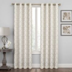Regent Court Embroidered Lattice Curtain - Tan 50x108
