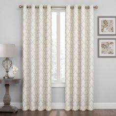 Regent Court Embroidered Lattice Curtain - Tan 50x108