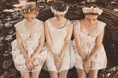 Vintage bridesmaids. Flower crowns.