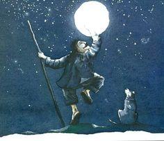 "Douglas Gutiérrez. ""La noche de las estrellas"". Editorial Ekaré (6 - 8 años) Night Sky Wallpaper, Moon Shadow, Moon Moon, Good Night Moon, Sun And Stars, Art Journal Inspiration, Moon Child, Night Skies, Art Forms"