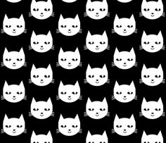 cat white black fabric by charlottewinter on Spoonflower - custom fabric