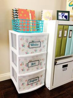 wall art & plastic cart spruce up by mambi Design Team member Jen Randall using our new Expandable Paper Pads Storage Organization, Organization Ideas, Writing Art, Diy Room Decor, Home Decor, Book Crafts, Happy Planner, Team Member, Planner Ideas