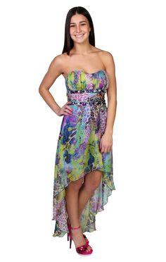 animal print chiffon high low prom dress