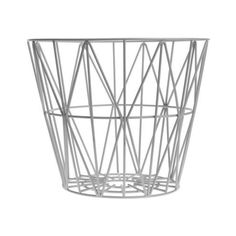 Large Grey Wire Basket ($90) ❤ liked on Polyvore featuring home, home decor, small item storage, round basket, grey home decor, wire baskets, ferm living and grey basket