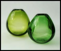 Vintage hand blown Holmegaard green coloured glass vases from Freeforms USA