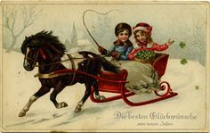 weihnachtskarten-SabineFrohesFestKinderaufSchlitten