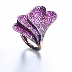 Ring in colored titanium with pink sapphires 7.14 ct and white diamonds 0.58 ct by Tarditi