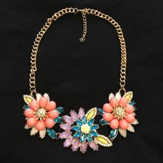 Colorful Flower Golden Necklace Stunning and wow! Jewelry Necklaces