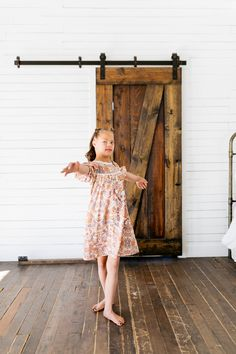 Soft, roomy, scalloped, flowers, and mid-length sleeves makes this the perfect back to school dress! Blush Dresses, Flower Dresses, Sparkle Skirt, Unicorn Dress, Family Picture Outfits, School Dresses, Satin Bows, Baby Size, Navy Dress