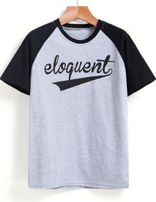 Grey Contrast Short Sleeve eloquent Print T-Shirt
