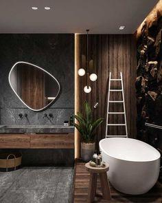 Hoy en día son más las personas que optan por agregar tonos oscuros a los baños. Colores que van desde los grises oscuros, marrones, negros… en acabados como pueden ser los alicatados y sanitarios. Para baños grandes, también puedes optar por hormigones o cementos pulidos, maderas y piedras variadas. #baños #bañososcuros #decoración #ideasbaño #ideas #tonososcuros Loft Interiors, Dark Interiors, Beautiful Interiors, Bathroom Design Luxury, Home Interior Design, Exterior Design, Loft Design, House Design, Design Design