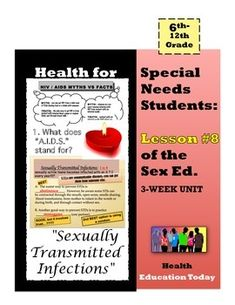 "Sex Ed. For Special Needs Students: Lesson #8 of 10 - I feel so blessed that my ""Best Health Curriculum"" has touched the lives of thousands of students…After many teacher requests for a ""Special Ed."" version, here it is!! This is lesson #2 of my ""3-Week Sex Ed. Unit for Special Needs Students,"" which you can find at: https://www.teacherspayteachers.com/Product/Health-for-Special-Needs-Students-3-Week-Sex-Ed-Unit-1767085"