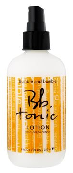 Bumble and Bumble Tonic Lotion - I'm obsessed with this stuff!  A blend of herbs, vitamins & Tea Tree Oil replaces moisture, soothes, detangles, enhances the performance of products and reminds us of old-school barbers' elixirs. Smells so good & works even better...LOVE IT!
