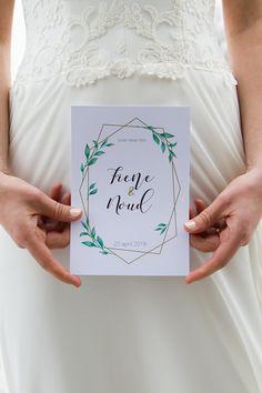 Modern en romantische trouwkaart