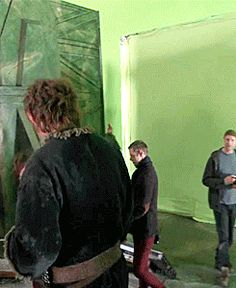 <3 <3 <3 Martin Freeman Benedict Cumberbatch Hobbit set