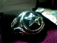 Silver Plated Size 10 Biker Ring Free Fast Shipping 5-pt. Star Pentagram Design #Handmade #Biker