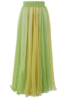 Fluid Maxi Skirt in Light Green