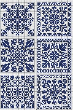 More square tiles - Chart for cross stitch or filet crochet. Cross Stitch Borders, Cross Stitch Samplers, Counted Cross Stitch Patterns, Cross Stitch Charts, Cross Stitch Designs, Cross Stitching, Motifs Blackwork, Blackwork Embroidery, Cross Stitch Embroidery