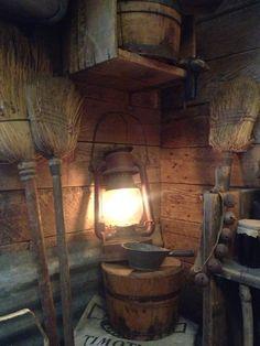 #Primitive_Brooms Primitive broom, antique wood bucket and barn lantern.