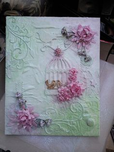 I quite liked the idea of creating a canvas that would help to cover the bare walls in my craft room. Strange for a crafter to have but y...