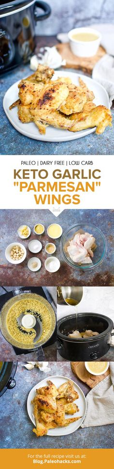 Slow cook wings to fall-off-the-bone perfection in a savory paleo and keto garlic parmesan sauce.