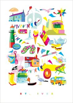 St Ives, Fish And Chips, A4, Kids Rugs, Illustration, Stuff To Buy, Color, Store, Kid Friendly Rugs
