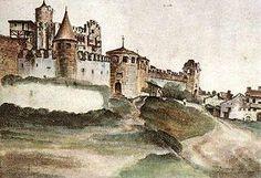 Città e paesi. Albercht Durer: Il castello del Buon Consiglio, a Trento. Acquerello e gouache su carta, del 1494, British Museum, Londra. Ripreso da sotto la collina, venne disegnato e colorato dal pittore durante il suo viaggio di ritorno in Germania, dopo essere passato per Venezia.
