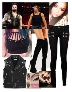 My outfit for Roman and Dean vs Seth and Luke Harper by carolalink on Polyvore featuring Yves Saint Laurent, Paige Denim and Cyrus