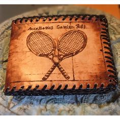 Handmade Wallet with Tennis Rackets - Leather-burnt