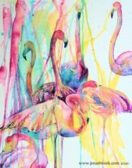 "Painting by Jen Callahan, ""Flamingo 1st"", painted in Watercolor paint. The primary pink, blue, yellow.."