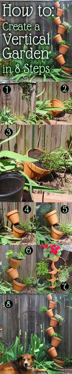 How To: Create a DIY Vertical Garden with Terracotta Pots #landscaping #flowers #gardening | A Collection of Photos
