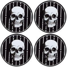 SOURPUSS BONEY SKULLS COASTERS $8.00 #sourpuss #sourpussclothing #housewares #coasters #skulls #creepy #halloween