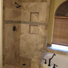 Classic Travertine Tile Shower Design Ideas, Pictures, Remodel, and Decor - page 157. mosiac between cubby