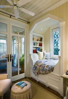 diy window seat with cushions, storage and decorative pillows something like this for the MBR window?