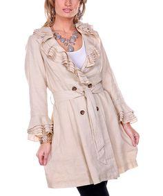 Another great find on #zulily! Beige Ruffle Linen Trench Coat - Women & Plus #zulilyfinds
