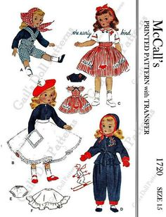 "Copy of the 1952 McCall's #1720 pattern for Doll Clothes to fit 15"" American Character Dolls"