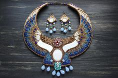Egyptian Necklace and Earrings Set Crystal Jewelry, Beaded Jewelry, Silver Jewelry, Art Deco Jewelry, Unique Jewelry, Handmade Necklaces, Handmade Jewelry, Diy Jewelry, Jewelery