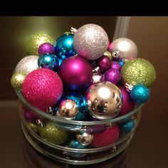 Glittery colorful Christmas ornament centerpiece
