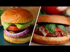 Easy Burger Recipes for Vegetarians - YouTube Burger Recipes, Vegetarian Recipes, Falafel, Feta, Sandwiches, Veggies, Healthy Eating, Ethnic Recipes, Easy