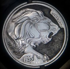 "Hobo Nickel 1935 – Lion of Pedro Villarrubia ""The eighth coin auction carved, long-maned lion engraving on a . Antique Coins, Old Coins, Coin Auctions, Hobo Nickel, Coin Art, Metal Clay Jewelry, Commemorative Coins, Challenge Coins, Lion Tattoo"