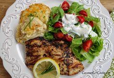 Gourmet Girl Cooks: Grilled Marinated Chicken, Cheddar Cauliflower Mash Bake & Salad w/ Homemade Dressing