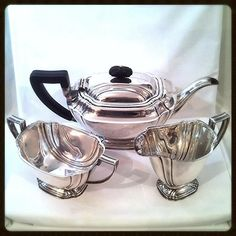 Tea Service Art Deco Sterling Silver WWII Austere Atkin Brothers Sheffield England Circa 1942 ❀ $1849 ❀ http://www.rubylane.com/item/918511-GN302/Tea-Service-Art-Deco-Sterling