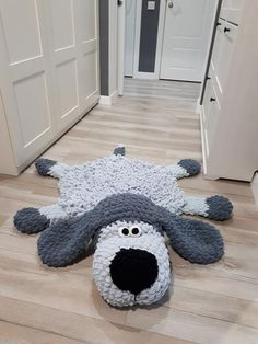 Soft Puppy Dog rug Sleeping bear for children. Сrochet circle gray mat in the nursery. For gift on Baby Shower, Birthday - decorative handmade - Soft Puppy Dog rug Sleeping bear for children. Crochet Mat, Crochet Toys, Sheep Rug, Nursery Area Rug, Easy Pets, Animal Rug, Photos With Dog, Plush Carpet, Fluffy Rug
