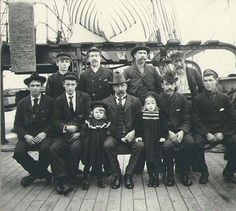 Crew and two little girls on the deck of the three-masted ship LADY ISABELLA, Puget Sound port, Washington, ca. 1904. :: Wilhelm Hester Photographs