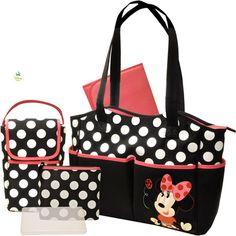 Amazon.co.jp: ディズニー [Disney] ミニーマウス 5-in-1 マザーズバッグ セット Disney - Minnie 5-in-1 Diaper Bag Set 【並行輸入品】: ベビー&マタニティ