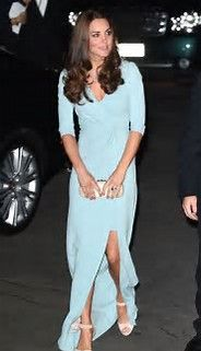 bf49cfc63 Kate Middleton stepped out in a pale blue Jenny Packham gown, L. Bennett  heels, Monica Vinader jewelry and carrying an Alexander McQueen purse.