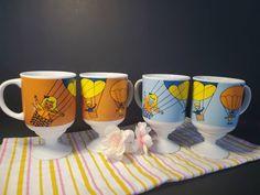 Retro Hot Air Balloon Pedestal Cups / Mugs / Set / Japan Vintage Box, Vintage Silver, Retro Vintage, Orange Cups, Blue Cups, Chip And Dip Bowl, Coffeecup, Retro Color, Hot Air Balloon