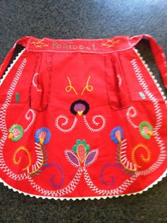 Vintage Hand Embroidered Portugal Apron by LuvUniqueThings on Etsy, $16.50